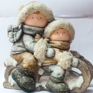 Bambini su slittino – Neve